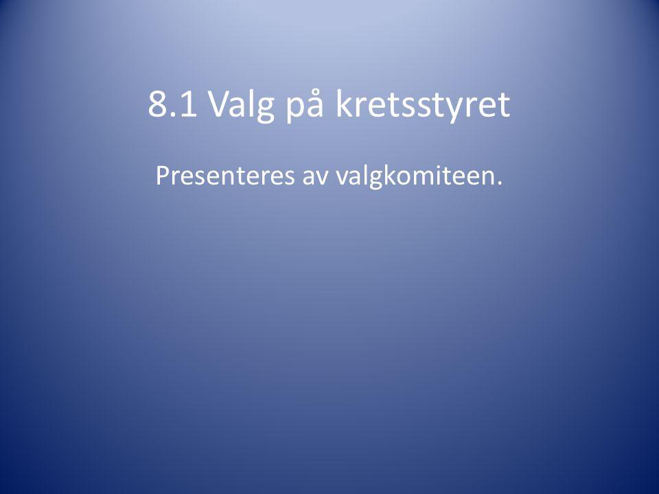 8.1 Valg på kretsstyret Presenteres av valgkomiteen.