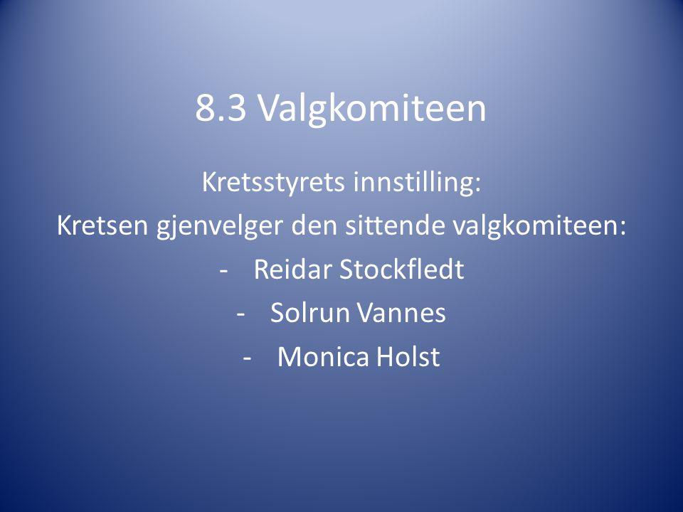 8.3 Valgkomiteen Kretsstyrets innstilling: Kretsen gjenvelger den sittende valgkomiteen: -Reidar Stockfledt -Solrun Vannes -Monica Holst
