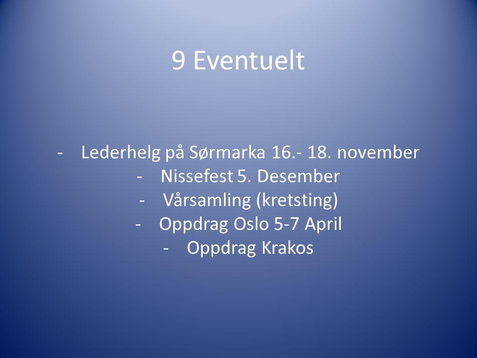 9 Eventuelt -Lederhelg på Sørmarka 16.- 18. november -Nissefest 5.