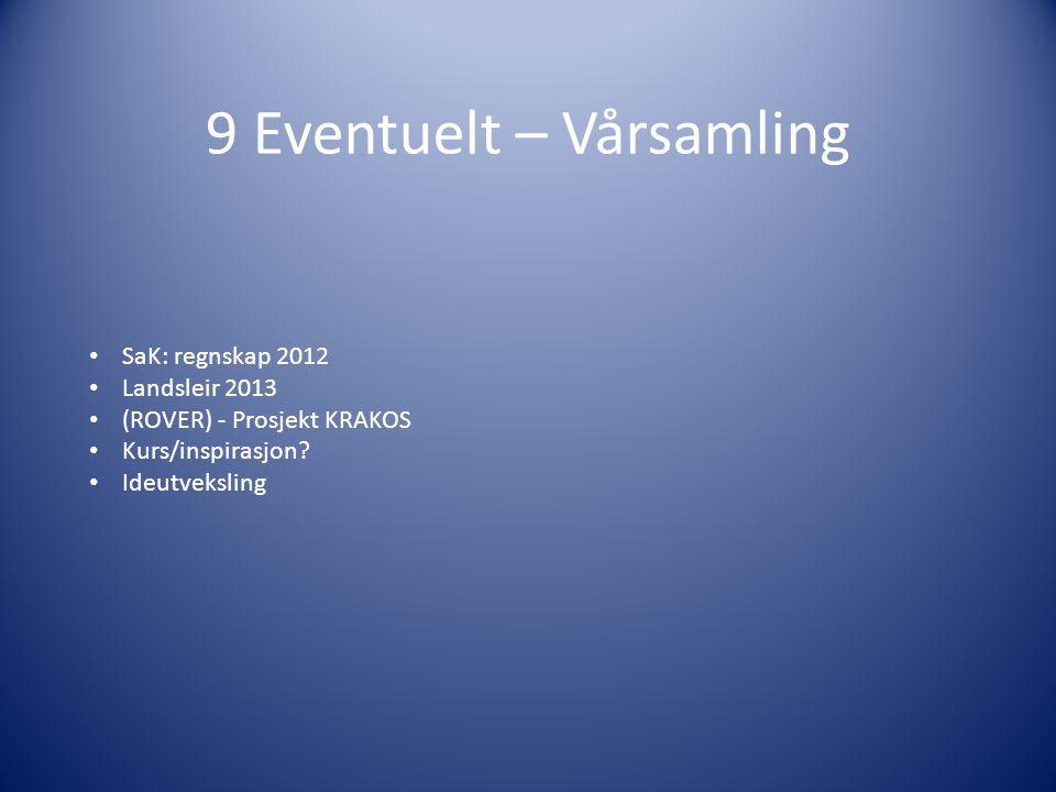 9 Eventuelt – Vårsamling SaK: regnskap 2012 Landsleir 2013 (ROVER) - Prosjekt KRAKOS Kurs/inspirasjon.