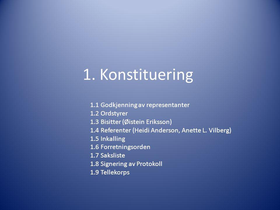 1. Konstituering 1.1 Godkjenning av representanter 1.2 Ordstyrer 1.3 Bisitter (Øistein Eriksson) 1.4 Referenter (Heidi Anderson, Anette L. Vilberg) 1.