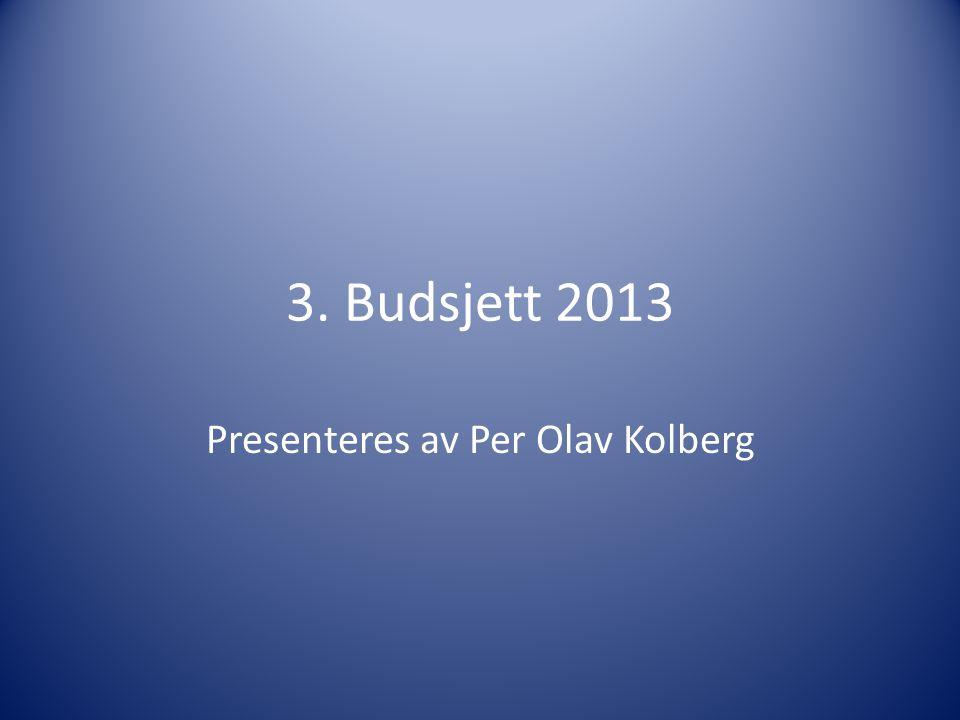 3. Budsjett 2013 Presenteres av Per Olav Kolberg