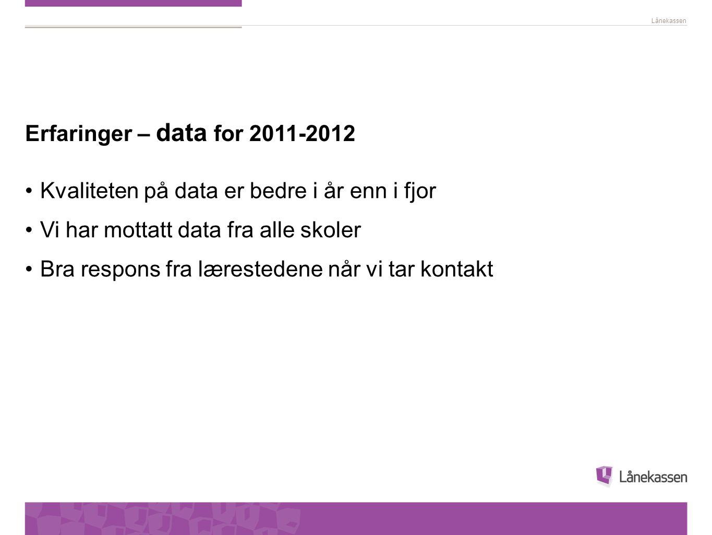 Lånekassen Erfaringer – data for 2011-2012 Kvaliteten på data er bedre i år enn i fjor Vi har mottatt data fra alle skoler Bra respons fra lærestedene når vi tar kontakt