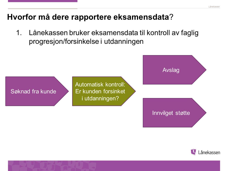 Lånekassen Søknad fra kunde Avslag Innvilget støtte Automatisk kontroll: Er kunden forsinket i utdanningen.