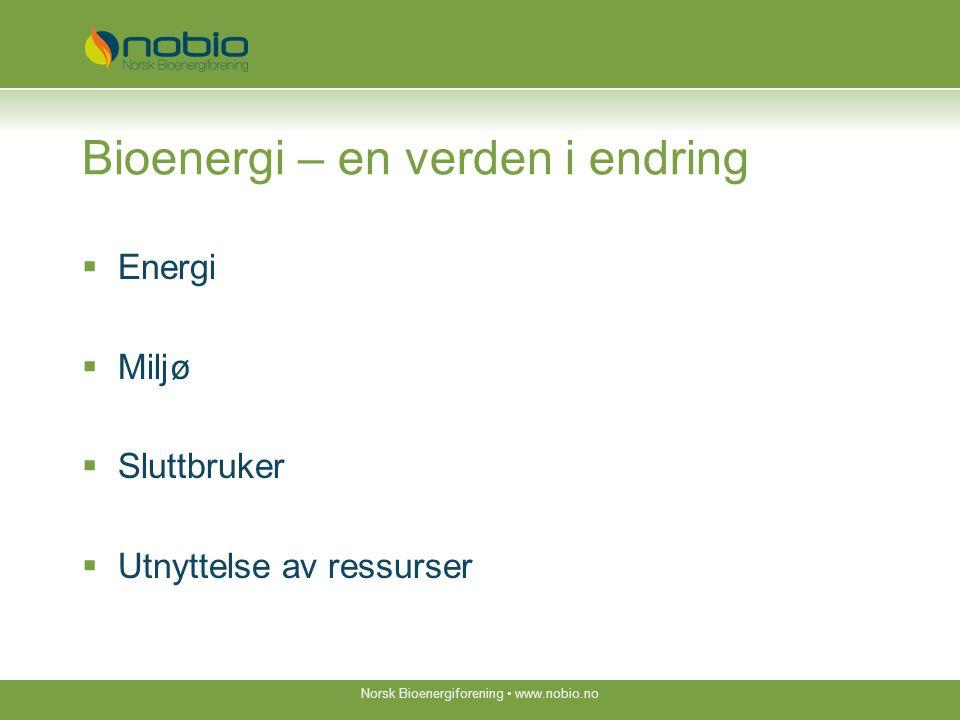 Bioenergi – en verden i endring  Energi  Miljø  Sluttbruker  Utnyttelse av ressurser Norsk Bioenergiforening www.nobio.no