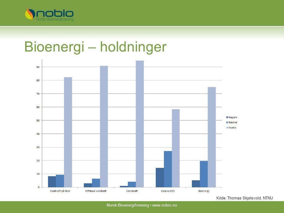 Bioenergi – holdninger Norsk Bioenergiforening www.nobio.no Kilde: Thomas Skjølsvold, NTNU