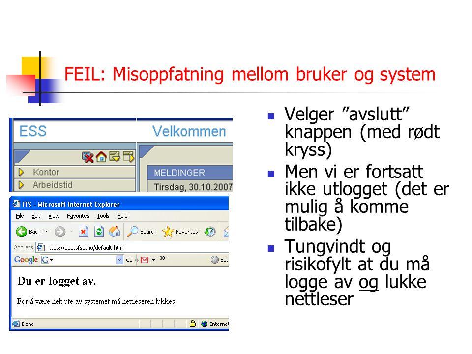 FEIL: Misoppfatning mellom bruker og system Velger avslutt knappen (med rødt kryss) Men vi er fortsatt ikke utlogget (det er mulig å komme tilbake) Tungvindt og risikofylt at du må logge av og lukke nettleser