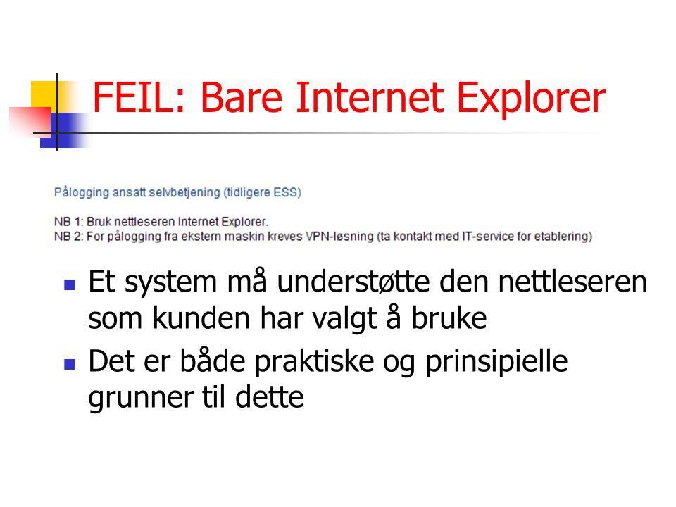 FEIL: Bare Internet Explorer Et system må understøtte den nettleseren som kunden har valgt å bruke Det er både praktiske og prinsipielle grunner til dette