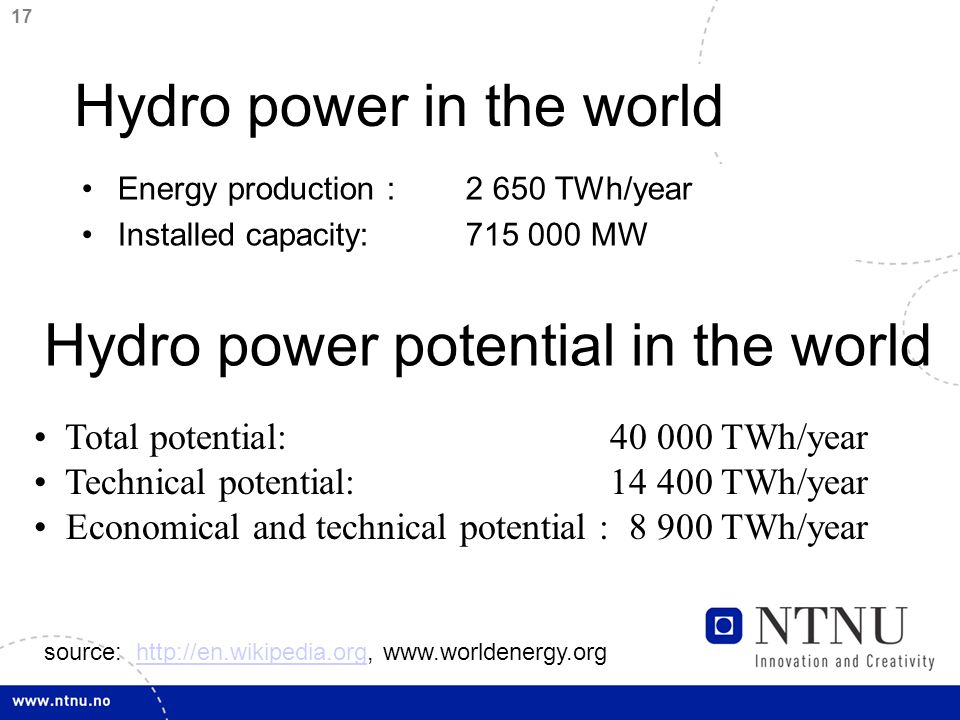 17 Hydro power in the world Energy production : 2 650 TWh/year Installed capacity:715 000 MW Total potential: 40 000 TWh/year Technical potential: 14 400 TWh/year Economical and technical potential : 8 900 TWh/year Hydro power potential in the world source: http://en.wikipedia.org, www.worldenergy.orghttp://en.wikipedia.org