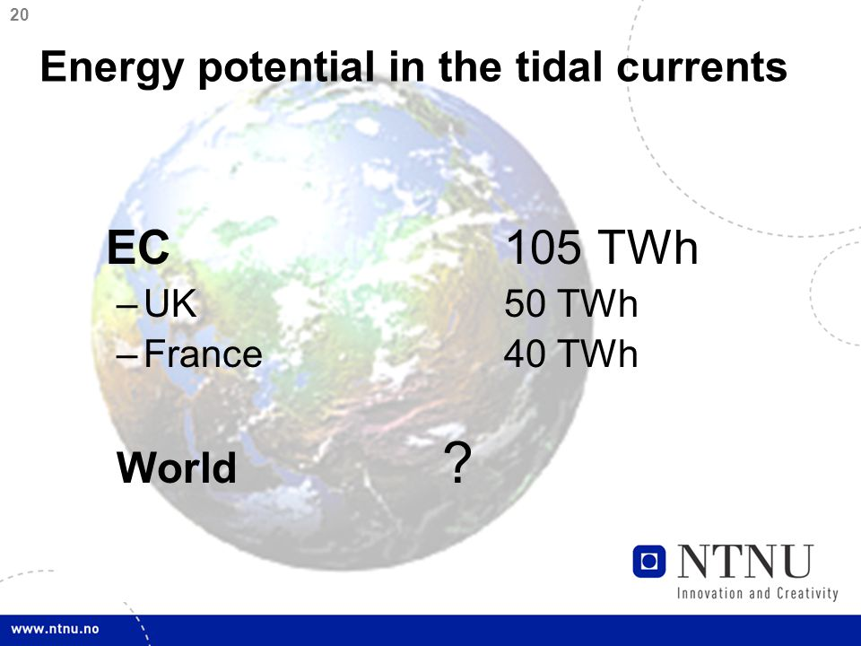 20 EC105 TWh –UK50 TWh –France40 TWh World Energy potential in the tidal currents