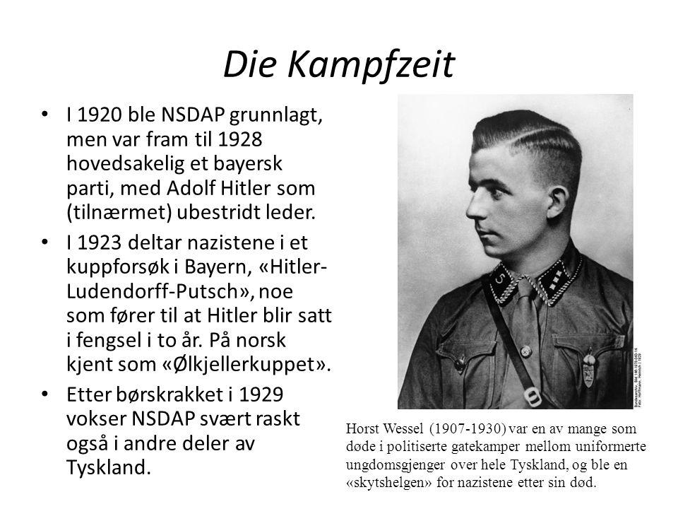 Die Kampfzeit I 1920 ble NSDAP grunnlagt, men var fram til 1928 hovedsakelig et bayersk parti, med Adolf Hitler som (tilnærmet) ubestridt leder. I 192
