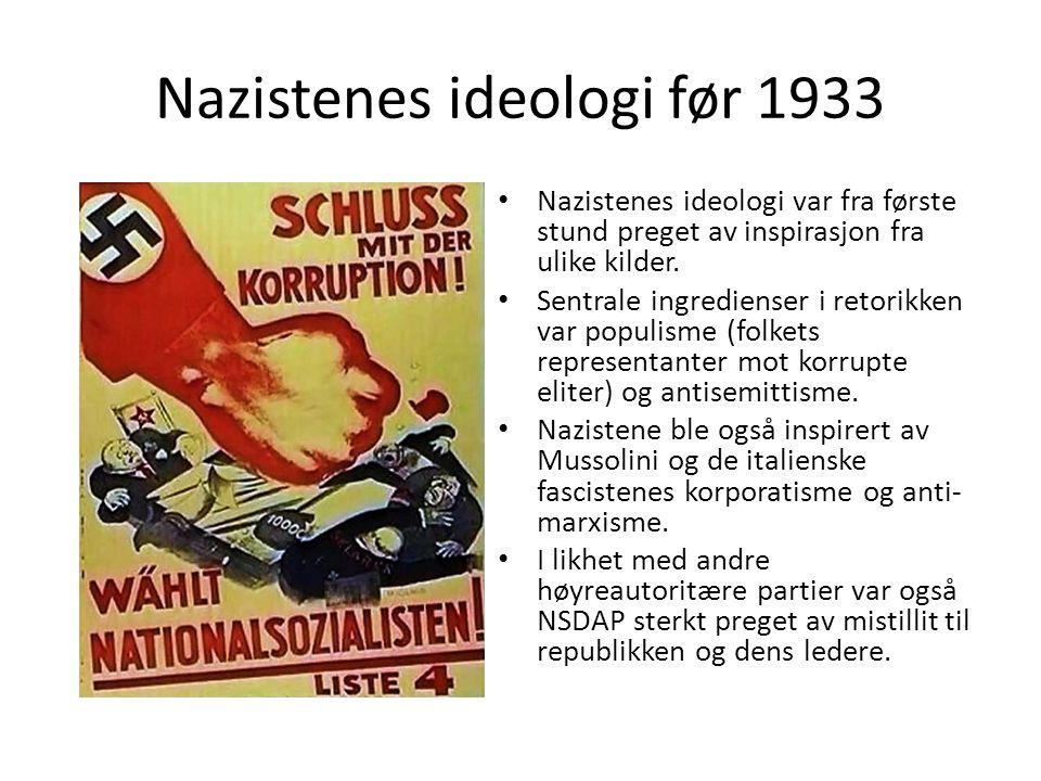 Nazistenes ideologi før 1933 Nazistenes ideologi var fra første stund preget av inspirasjon fra ulike kilder. Sentrale ingredienser i retorikken var p