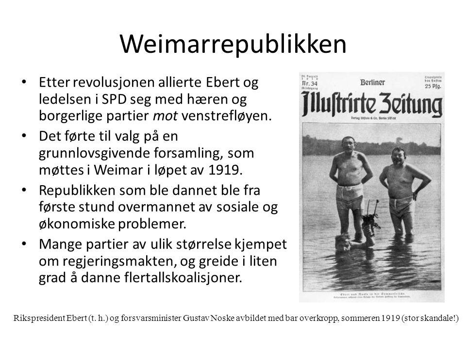 Weimarrepublikken Etter revolusjonen allierte Ebert og ledelsen i SPD seg med hæren og borgerlige partier mot venstrefløyen. Det førte til valg på en
