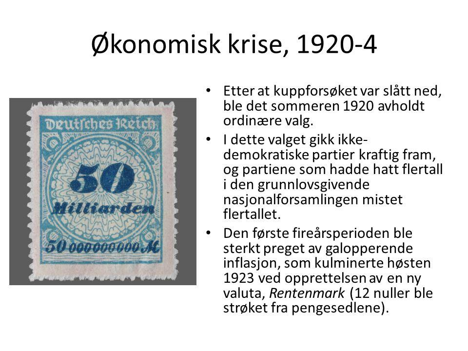Økonomisk krise, 1920-4 Etter at kuppforsøket var slått ned, ble det sommeren 1920 avholdt ordinære valg. I dette valget gikk ikke- demokratiske parti