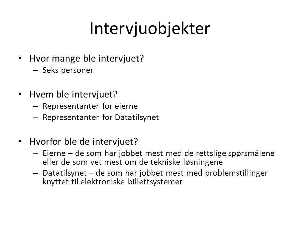 Intervjuobjekter Hvor mange ble intervjuet? – Seks personer Hvem ble intervjuet? – Representanter for eierne – Representanter for Datatilsynet Hvorfor