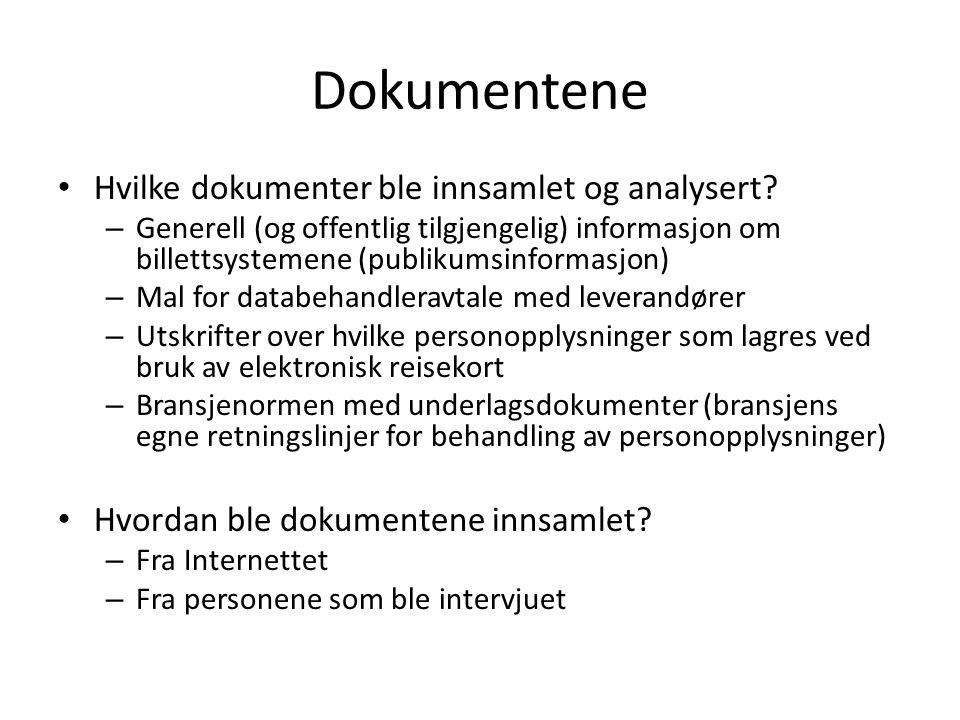 Dokumentene Hvilke dokumenter ble innsamlet og analysert? – Generell (og offentlig tilgjengelig) informasjon om billettsystemene (publikumsinformasjon