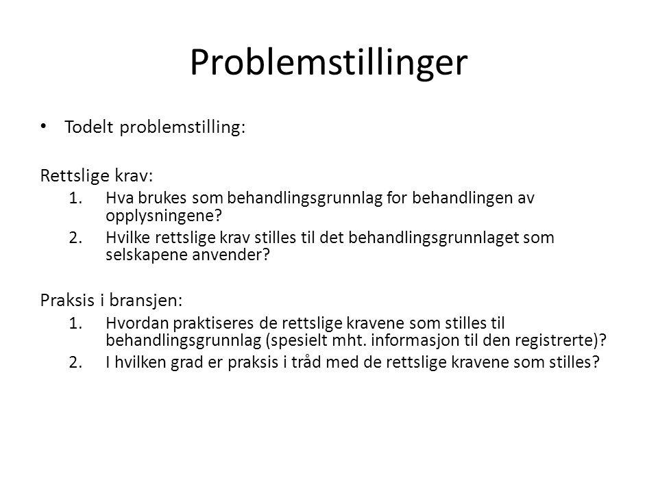 Problemstillinger Todelt problemstilling: Rettslige krav: 1.Hva brukes som behandlingsgrunnlag for behandlingen av opplysningene? 2.Hvilke rettslige k