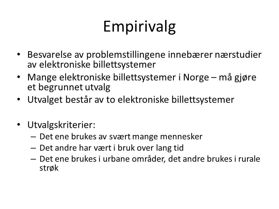Empirivalg Besvarelse av problemstillingene innebærer nærstudier av elektroniske billettsystemer Mange elektroniske billettsystemer i Norge – må gjøre