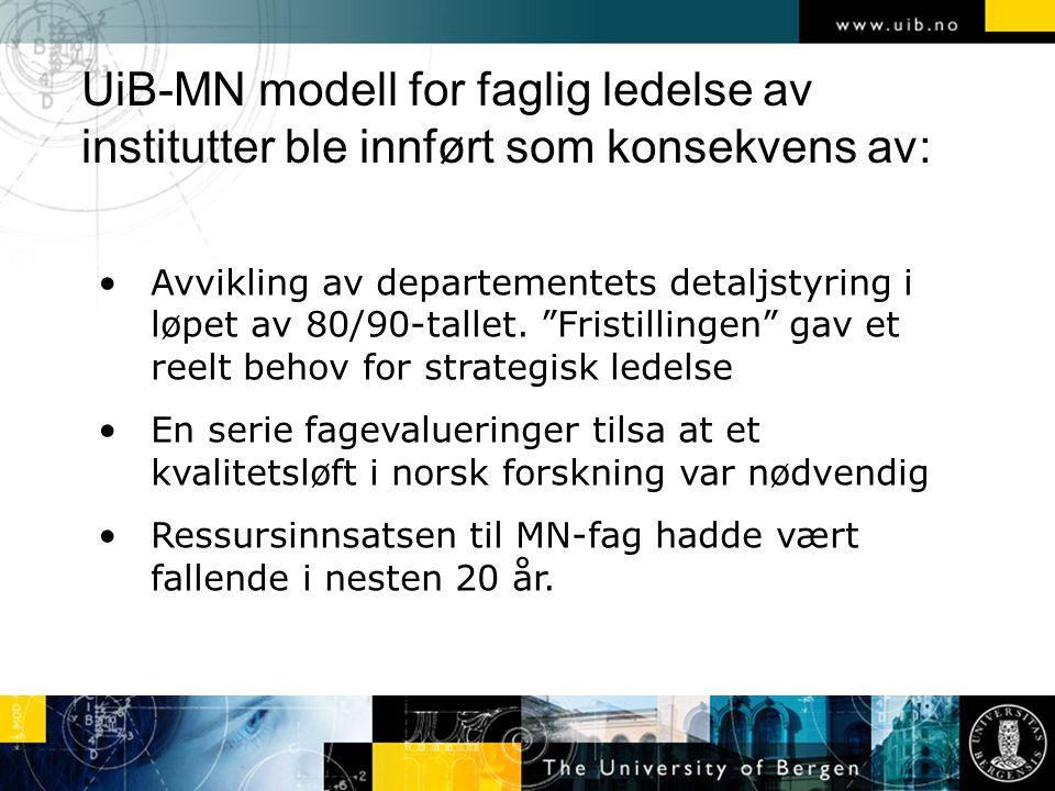 """UiB-MN modell for faglig ledelse av institutter ble innført som konsekvens av: Avvikling av departementets detaljstyring i løpet av 80/90-tallet. """"Fri"""