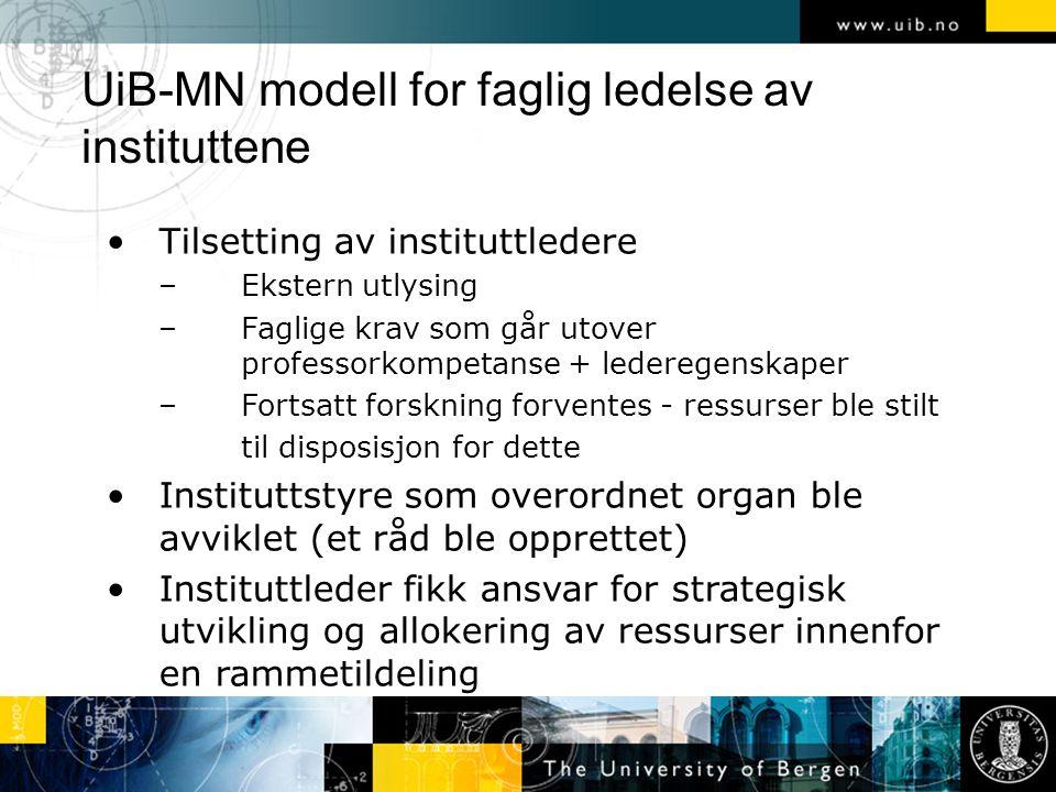 UiB-MN modell for faglig ledelse av instituttene Tilsetting av instituttledere –Ekstern utlysing –Faglige krav som går utover professorkompetanse + le
