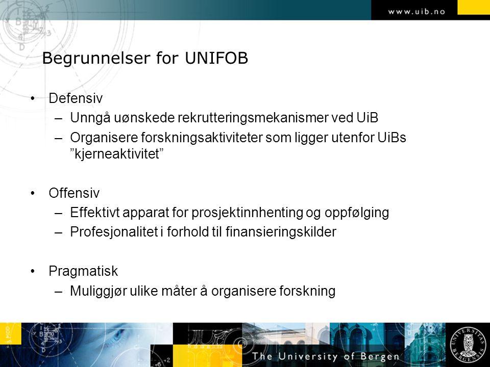 Begrunnelser for UNIFOB Defensiv –Unngå uønskede rekrutteringsmekanismer ved UiB –Organisere forskningsaktiviteter som ligger utenfor UiBs kjerneaktivitet Offensiv –Effektivt apparat for prosjektinnhenting og oppfølging –Profesjonalitet i forhold til finansieringskilder Pragmatisk –Muliggjør ulike måter å organisere forskning