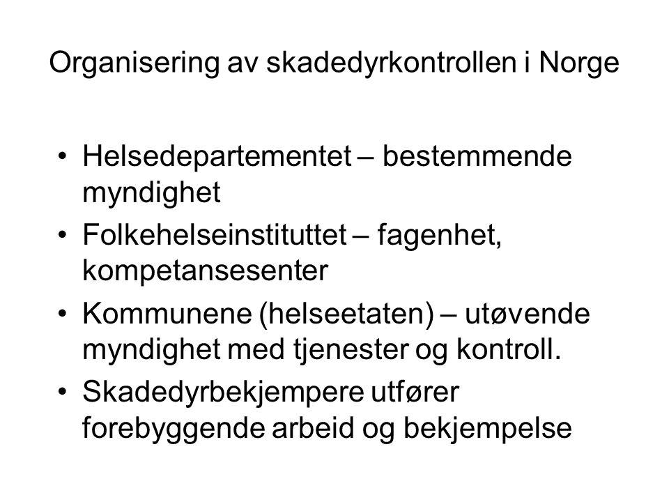 Organisering av skadedyrkontrollen i Norge Helsedepartementet – bestemmende myndighet Folkehelseinstituttet – fagenhet, kompetansesenter Kommunene (he