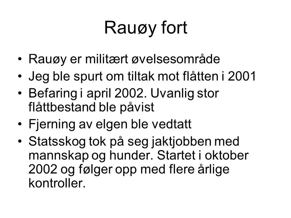 Rauøy fort Rauøy er militært øvelsesområde Jeg ble spurt om tiltak mot flåtten i 2001 Befaring i april 2002. Uvanlig stor flåttbestand ble påvist Fjer