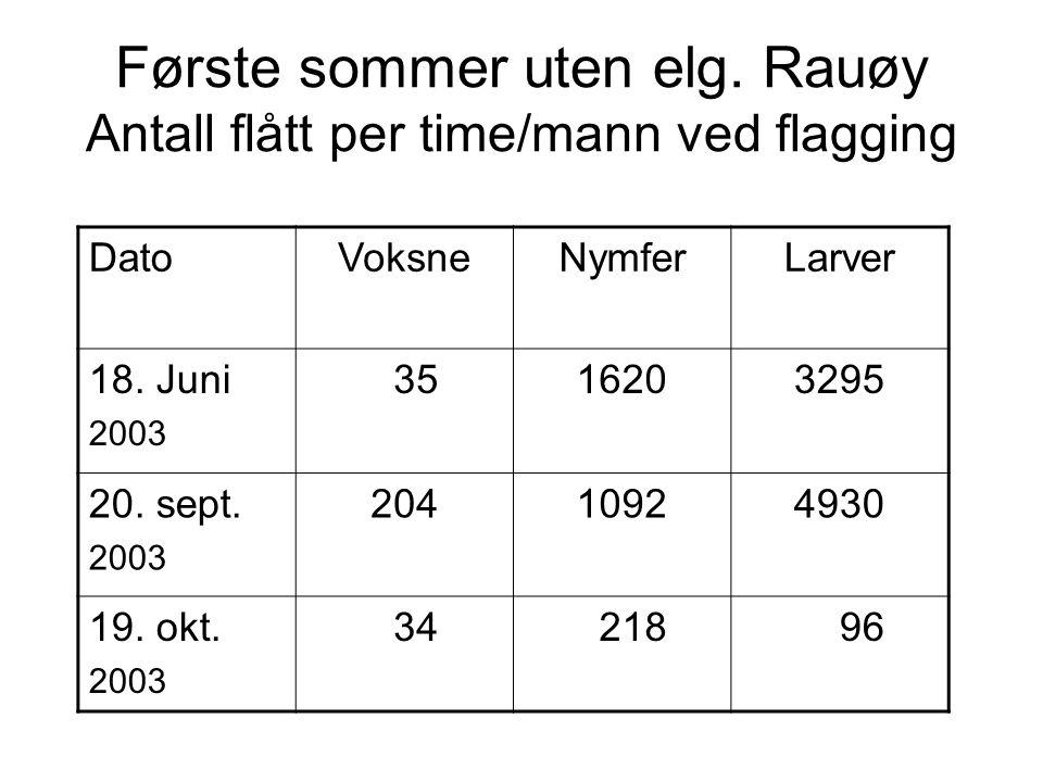 Første sommer uten elg. Rauøy Antall flått per time/mann ved flagging DatoVoksneNymferLarver 18. Juni 2003 3516203295 20. sept. 2003 20410924930 19. o