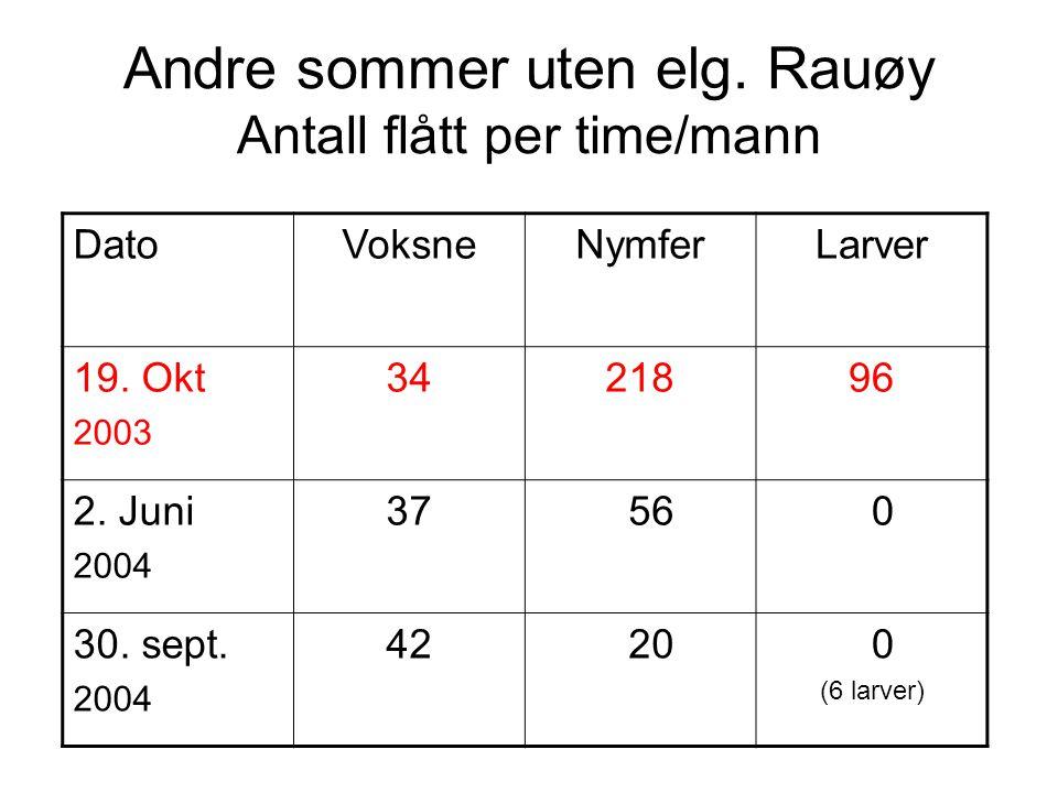 Andre sommer uten elg. Rauøy Antall flått per time/mann DatoVoksneNymferLarver 19. Okt 2003 3421896 2. Juni 2004 37 56 0 30. sept. 2004 42 20 0 (6 lar