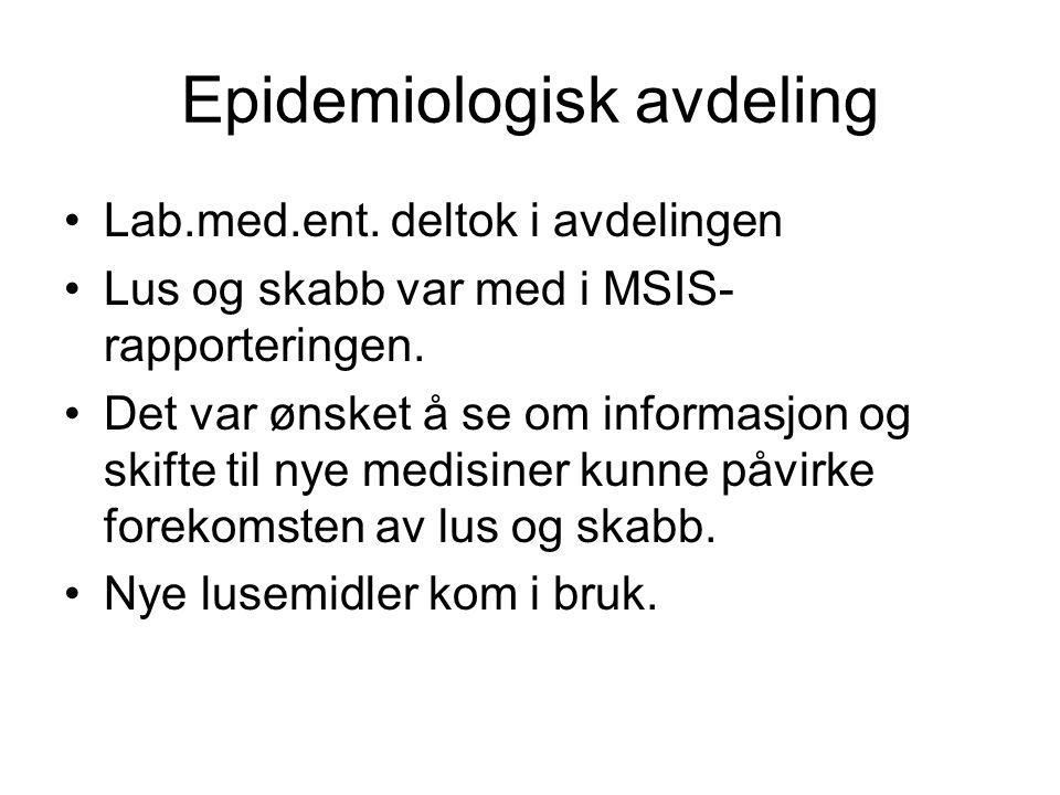Epidemiologisk avdeling Lab.med.ent. deltok i avdelingen Lus og skabb var med i MSIS- rapporteringen. Det var ønsket å se om informasjon og skifte til