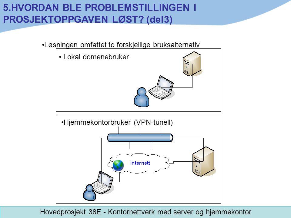 Løsningen omfattet to forskjellige bruksalternativ 5.HVORDAN BLE PROBLEMSTILLINGEN I PROSJEKTOPPGAVEN LØST? (del3) Hovedprosjekt 38E - Kontornettverk