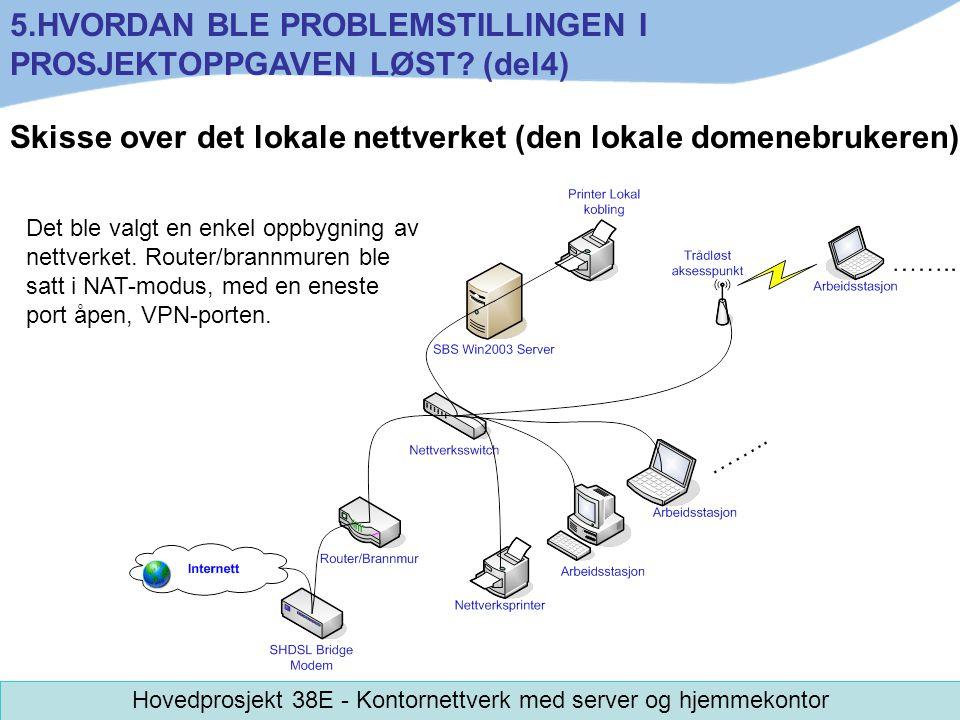 Skisse over det lokale nettverket (den lokale domenebrukeren) Det ble valgt en enkel oppbygning av nettverket. Router/brannmuren ble satt i NAT-modus,