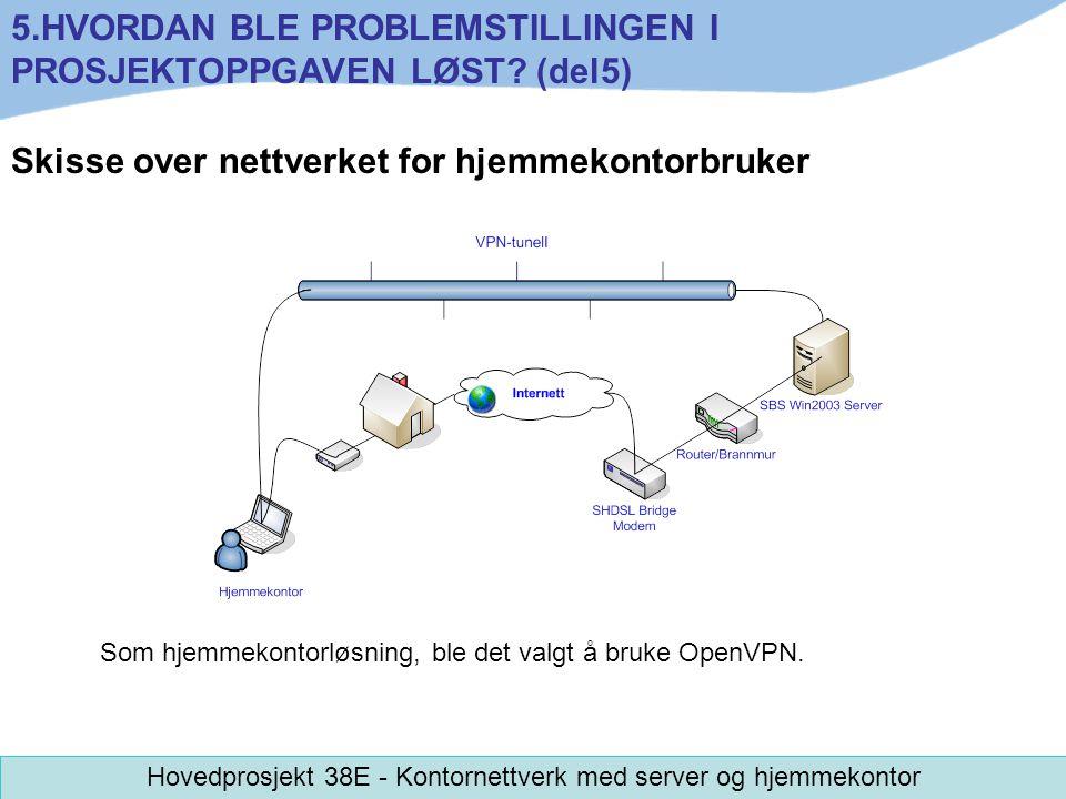 Skisse over nettverket for hjemmekontorbruker Som hjemmekontorløsning, ble det valgt å bruke OpenVPN. 5.HVORDAN BLE PROBLEMSTILLINGEN I PROSJEKTOPPGAV