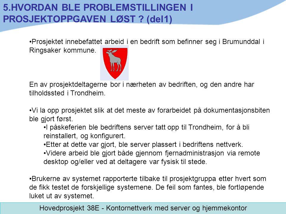 Prosjektet innebefattet arbeid i en bedrift som befinner seg i Brumunddal i Ringsaker kommune. En av prosjektdeltagerne bor i nærheten av bedriften, o