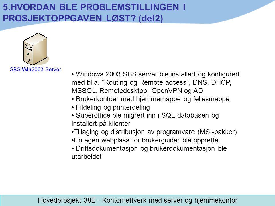 "Windows 2003 SBS server ble installert og konfigurert med bl.a. ""Routing og Remote access"", DNS, DHCP, MSSQL, Remotedesktop, OpenVPN og AD Brukerkonto"