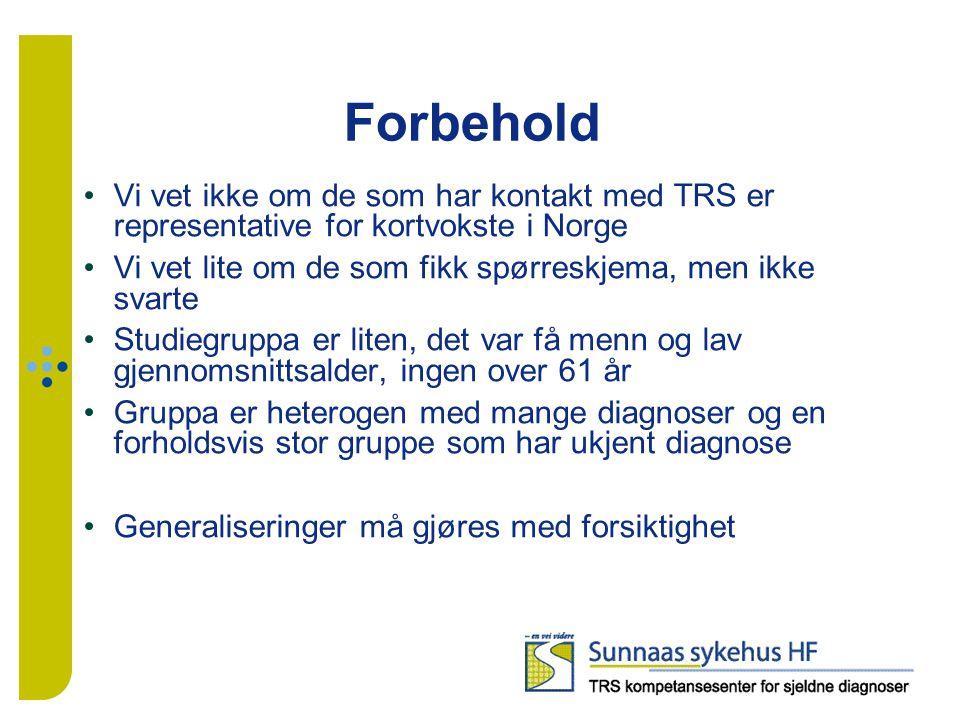 Forbehold Vi vet ikke om de som har kontakt med TRS er representative for kortvokste i Norge Vi vet lite om de som fikk spørreskjema, men ikke svarte