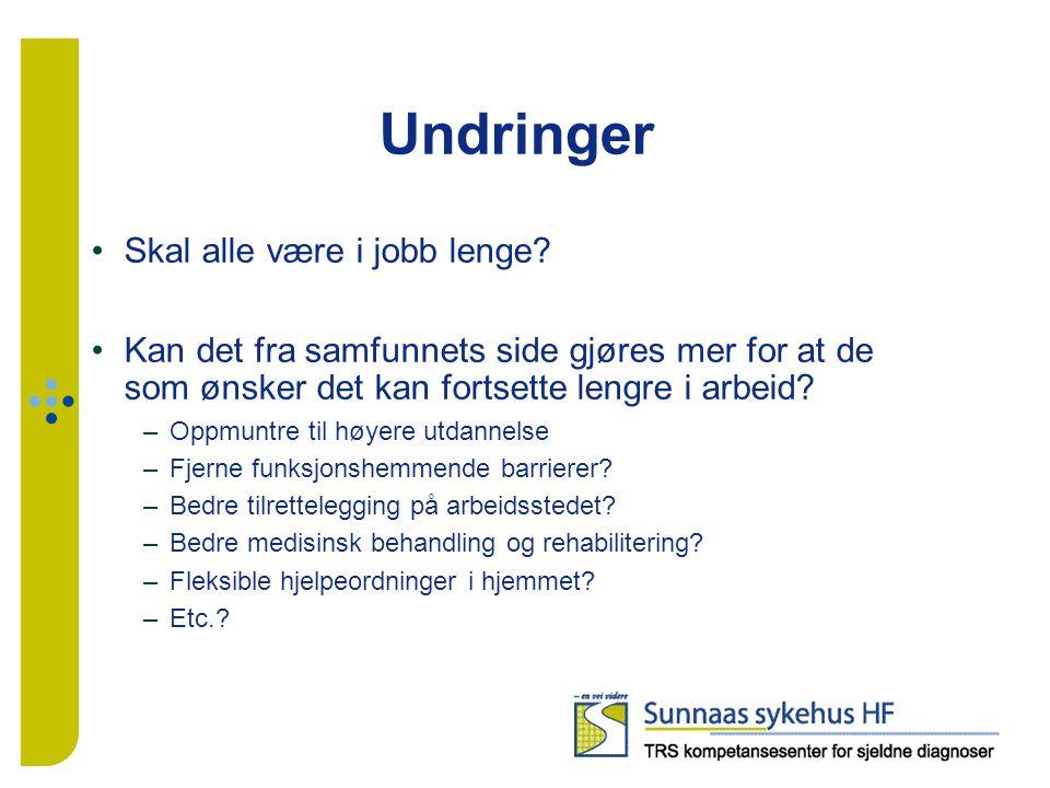Undringer Skal alle være i jobb lenge? Kan det fra samfunnets side gjøres mer for at de som ønsker det kan fortsette lengre i arbeid? –Oppmuntre til h
