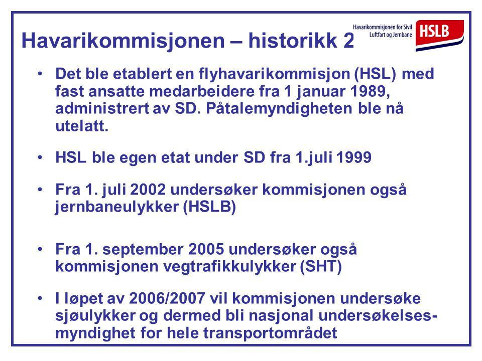 Havarikommisjonen – historikk 2 Det ble etablert en flyhavarikommisjon (HSL) med fast ansatte medarbeidere fra 1 januar 1989, administrert av SD. Påta