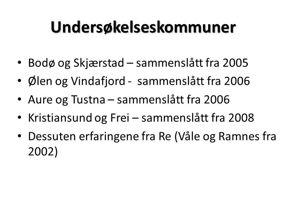 Bodø og Skjærstad – sammenslått fra 2005 Ølen og Vindafjord - sammenslått fra 2006 Aure og Tustna – sammenslått fra 2006 Kristiansund og Frei – sammenslått fra 2008 Dessuten erfaringene fra Re (Våle og Ramnes fra 2002) Undersøkelseskommuner