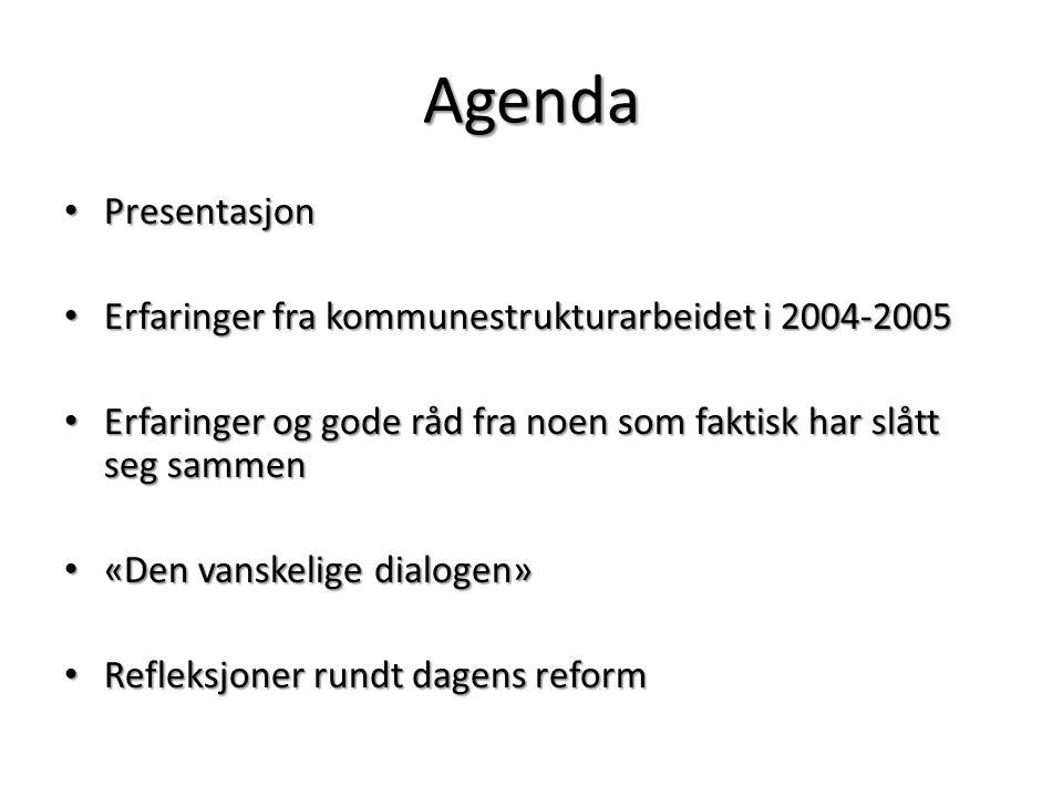 Agenda Presentasjon Presentasjon Erfaringer fra kommunestrukturarbeidet i 2004-2005 Erfaringer fra kommunestrukturarbeidet i 2004-2005 Erfaringer og g