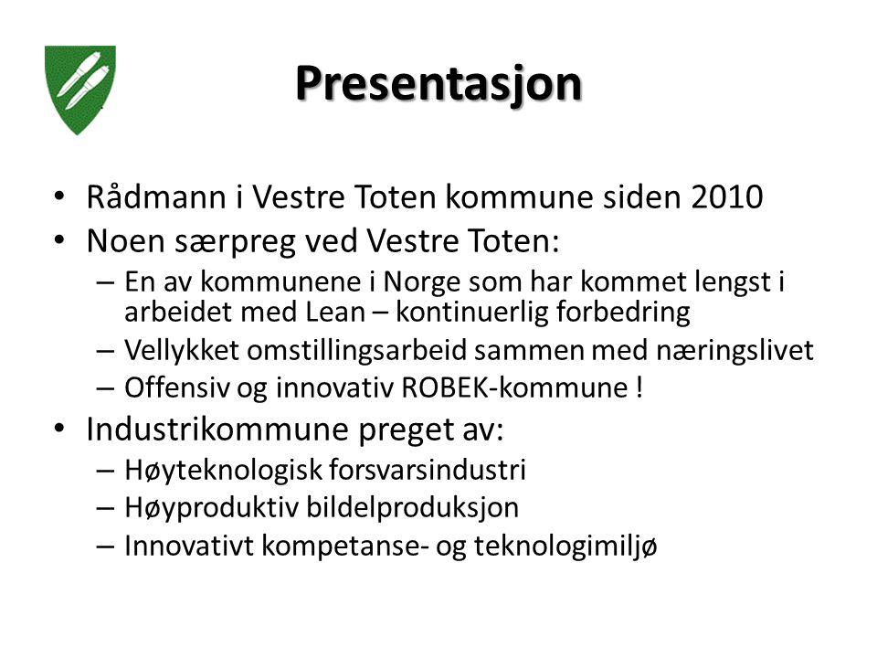 Presentasjon Rådmann i Vestre Toten kommune siden 2010 Noen særpreg ved Vestre Toten: – En av kommunene i Norge som har kommet lengst i arbeidet med Lean – kontinuerlig forbedring – Vellykket omstillingsarbeid sammen med næringslivet – Offensiv og innovativ ROBEK-kommune .