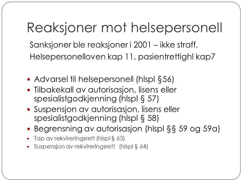 Reaksjoner mot helsepersonell Sanksjoner ble reaksjoner i 2001 – ikke straff. Helsepersonelloven kap 11, pasientrettighl kap7 Advarsel til helseperson