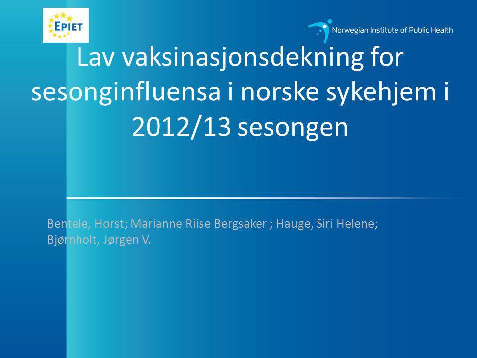 Finnmarks sykehjem (langtidsbeboere) 19 sykehjem deltatt i undersøkelsen – 358 langtidsbeboerne – 238 influensa vaksinert = 67% gjennomsnitt vaksinasjonsdekning Median = 62% (range 19%-100%)