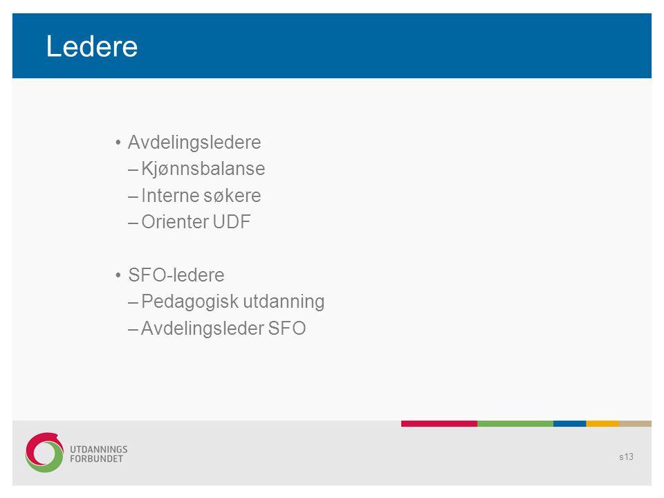 Ledere Avdelingsledere –Kjønnsbalanse –Interne søkere –Orienter UDF SFO-ledere –Pedagogisk utdanning –Avdelingsleder SFO s13