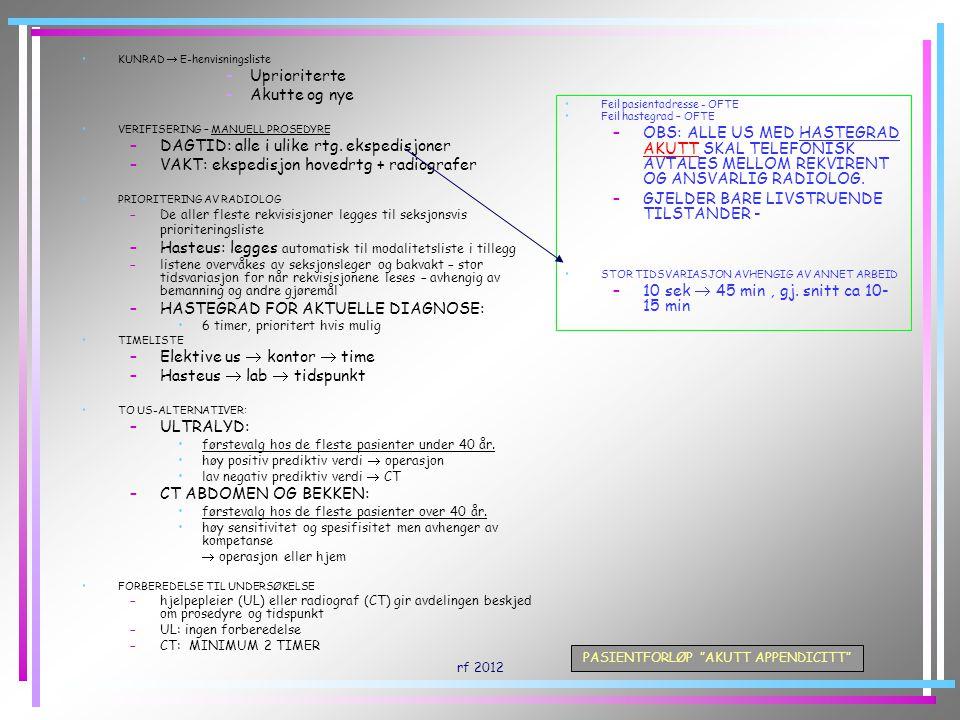 rf 2012 PASIENTFORLØP AKUTT APPENDICITT TRANSPORT UNDERSØKELSE I LAB –UL: 10-30 min –CT: 20-30 min fra inn til ut TRANSPORT UNDERSØKELSEN FERDIGSTILLES OG SIGNERES AV RADIOLOG (UL) ELLER RADIOGRAF (CT) UTEN HASTEGRAD: –  DEM.
