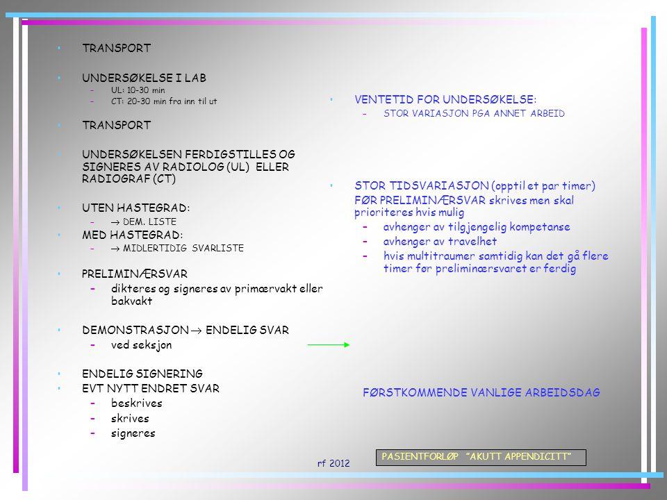 """rf 2012 PASIENTFORLØP """"AKUTT APPENDICITT"""" TRANSPORT UNDERSØKELSE I LAB –UL: 10-30 min –CT: 20-30 min fra inn til ut TRANSPORT UNDERSØKELSEN FERDIGSTIL"""