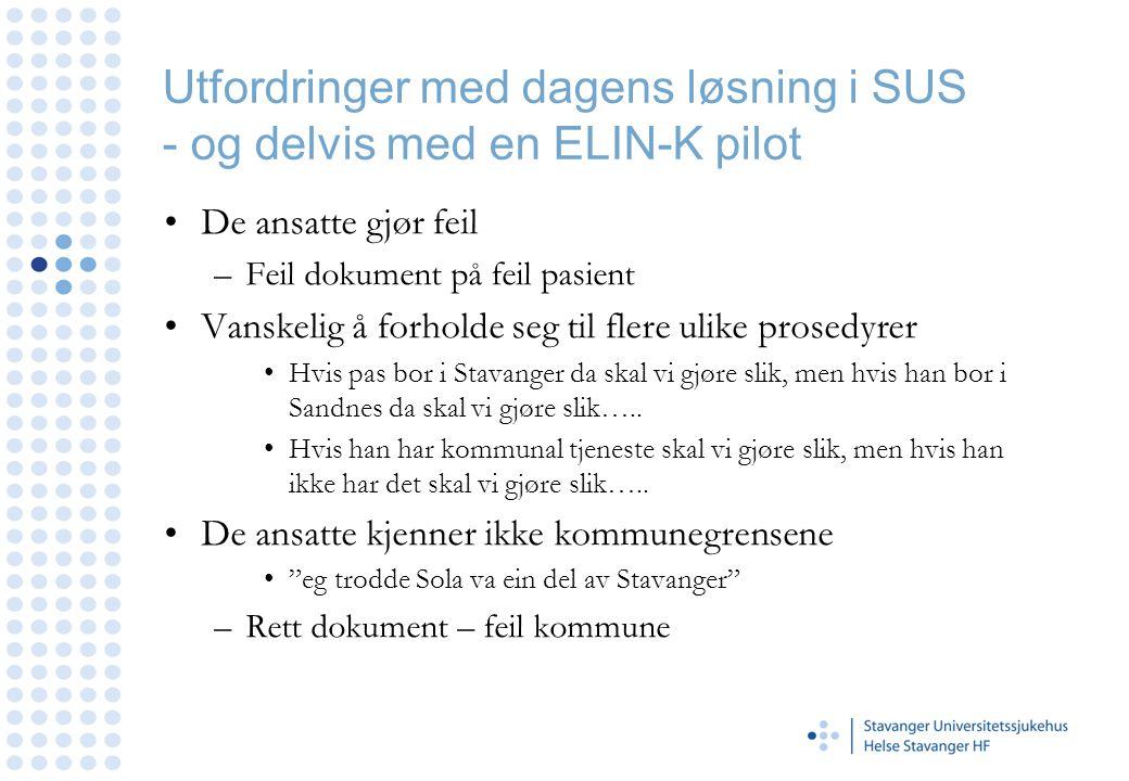 Utfordringer med dagens løsning i SUS - og delvis med en ELIN-K pilot De ansatte gjør feil –Feil dokument på feil pasient Vanskelig å forholde seg til
