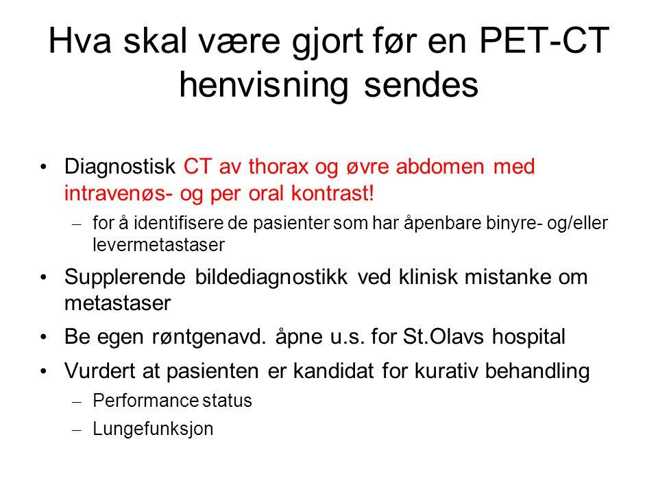 Minimumskrav til teknisk utførelse av CT toraks og øvre abdomen (fra Nasjonalt handlingsprogram, se www.nlcg.no) Intravenøs kontrast 350mg l/ml (kan måtte justeres og evt.