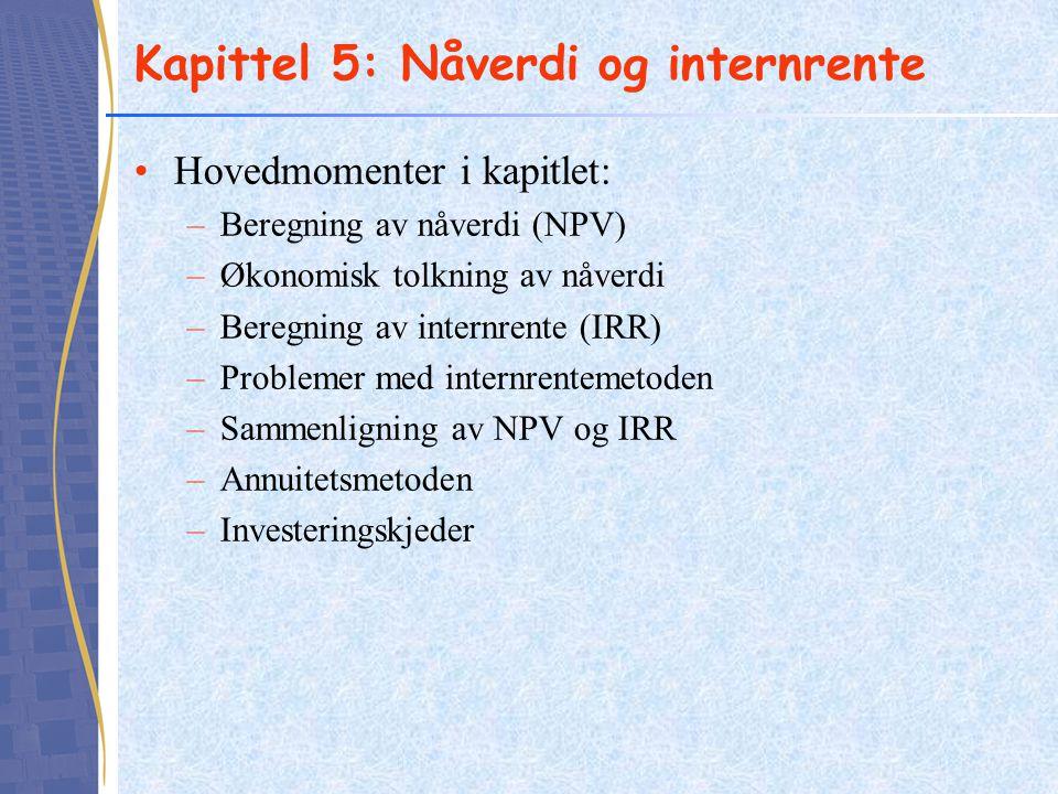Kapittel 5: Nåverdi og internrente Hovedmomenter i kapitlet: –Beregning av nåverdi (NPV) –Økonomisk tolkning av nåverdi –Beregning av internrente (IRR