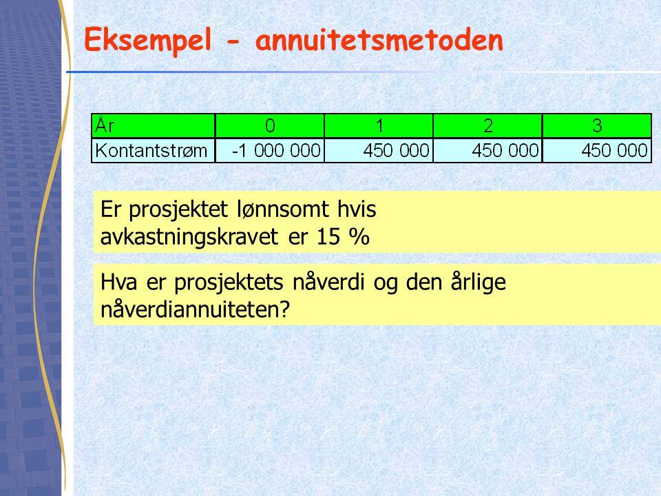 Eksempel - annuitetsmetoden Er prosjektet lønnsomt hvis avkastningskravet er 15 % Hva er prosjektets nåverdi og den årlige nåverdiannuiteten?